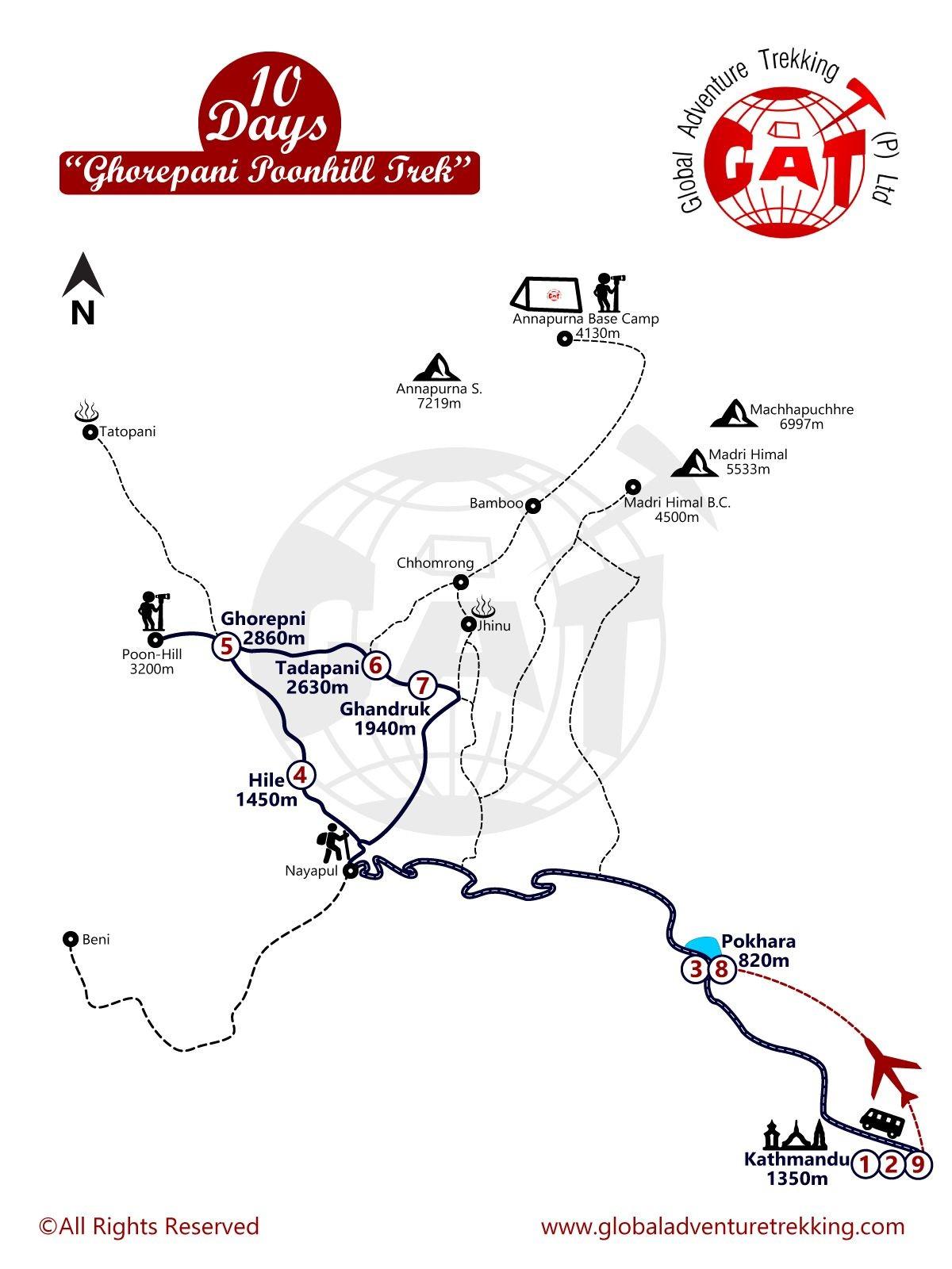 Ghorepani-Poon Hill Trek map